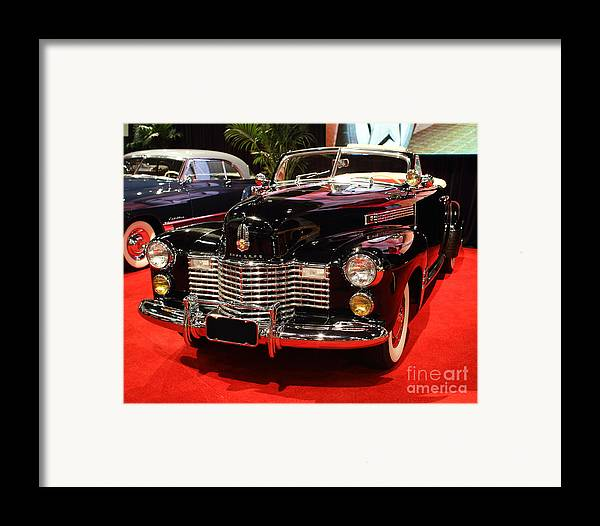 1941 Cadillac Series 62 Convertible Coupe Framed Print featuring the photograph 1941 Cadillac Series 62 Convertible Coupe . Front Angle by Wingsdomain Art and Photography