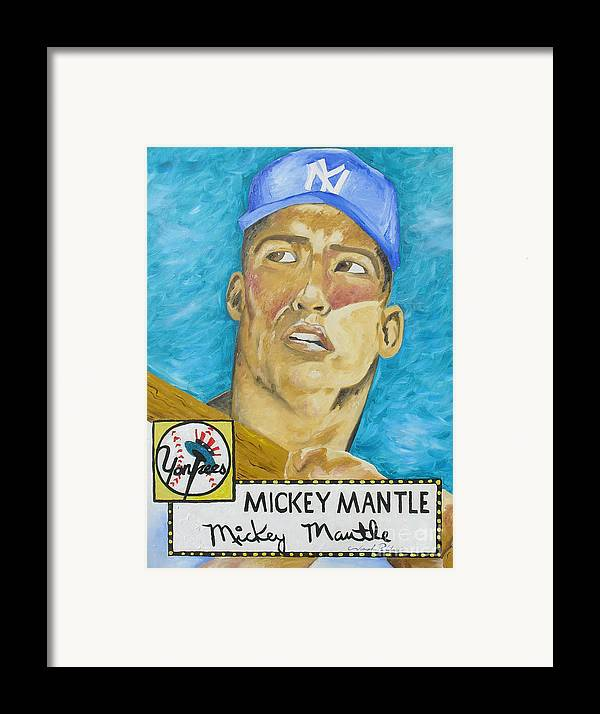 Mickey Mantle Framed Print featuring the painting 1952 Mickey Mantle Rookie Card Original Painting by Joseph Palotas