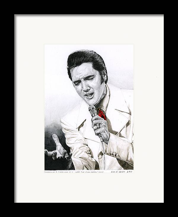 Elvis Framed Print featuring the drawing 1968 White If I Can Dream Suit by Rob De Vries