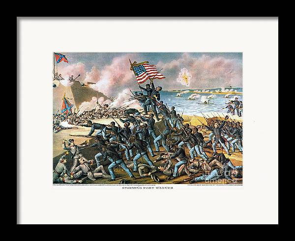 1863 Framed Print featuring the photograph Battle Of Fort Wagner, 1863 by Granger