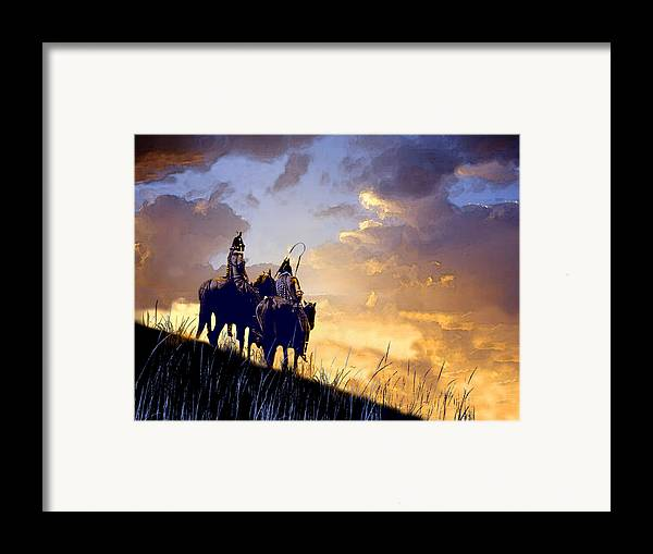 Native Americans Framed Print featuring the painting Going Home by Paul Sachtleben