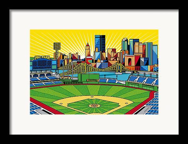 Pnc Park Framed Print featuring the digital art Pnc Park Gold Sky by Ron Magnes