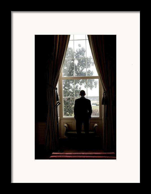 History Framed Print featuring the photograph President Barack Obama Looks by Everett