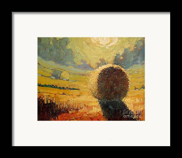 Hay Framed Print featuring the painting A Hay Bale In The French Countryside by Robert Lewis