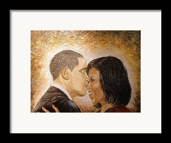 Barack And Michelle Obama Framed Print featuring the painting A Kiss For A Queen by Keenya Woods