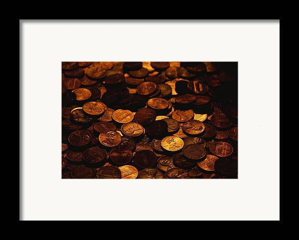 Money Framed Print featuring the photograph A Mound Of Pennies by Joel Sartore