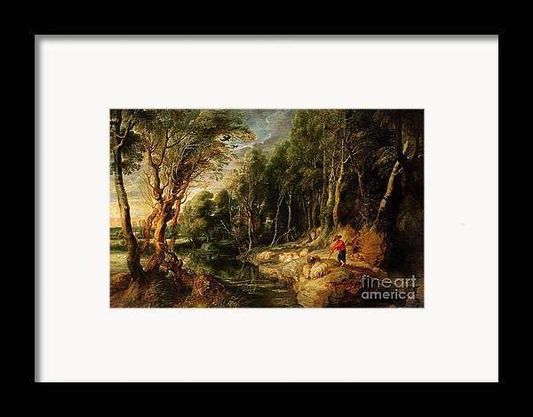 Shepherd Framed Print featuring the painting A Shepherd With His Flock In A Woody Landscape by Rubens