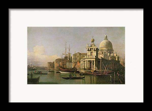 A View Of The Dogana And Santa Maria Della Salute Framed Print featuring the painting A View Of The Dogana And Santa Maria Della Salute by Antonio Canaletto