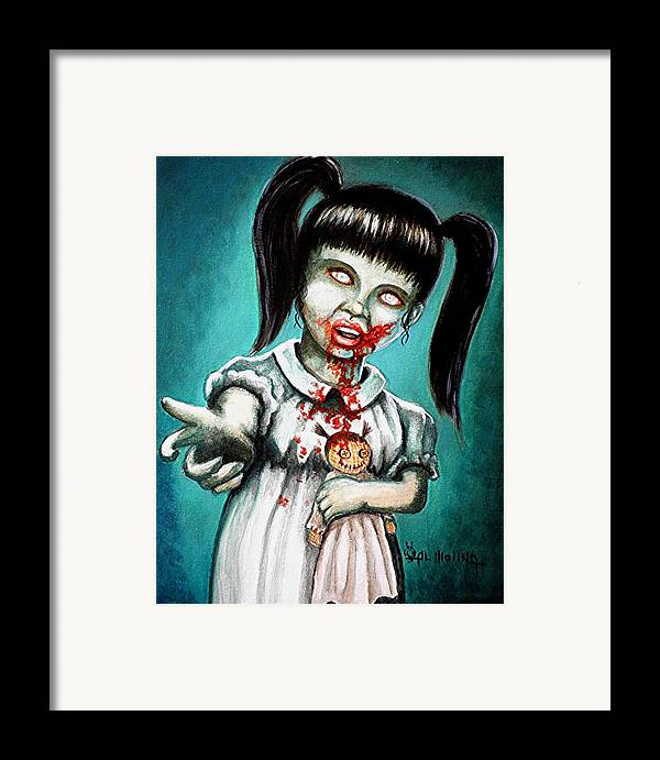 Zombie Framed Print featuring the painting Aaarrgg Thats Zombie Talk For Mommy by Al Molina