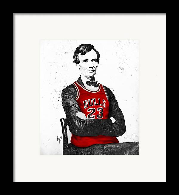 Michael Jordan Framed Print featuring the drawing Abe Lincoln In A Bulls Jersey by Roly Orihuela