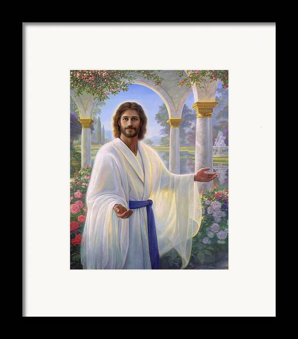 Jesus Framed Print featuring the painting Abide With Me by Greg Olsen