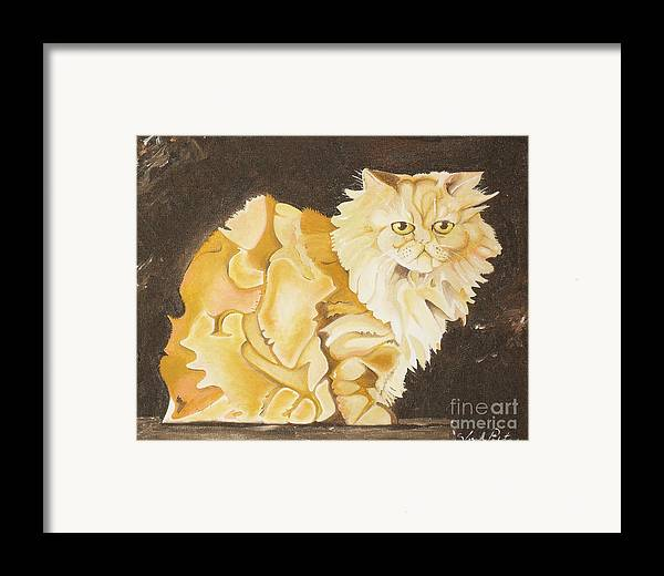 Cat Framed Print featuring the painting Abstract Cat by Joseph Palotas