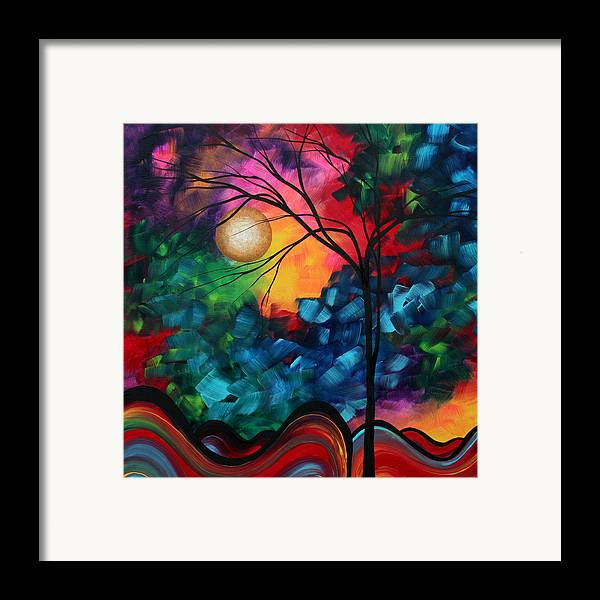 Abstract Framed Print featuring the painting Abstract Landscape Bold Colorful Painting by Megan Duncanson