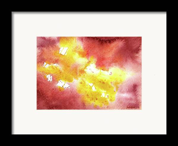 Yellow Framed Print featuring the painting Abstract Yellow Connectors by Sean Seal