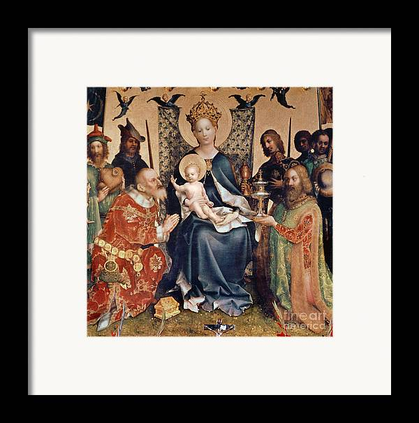 Adoration Framed Print featuring the painting Adoration Of The Magi Altarpiece by Stephan Lochner