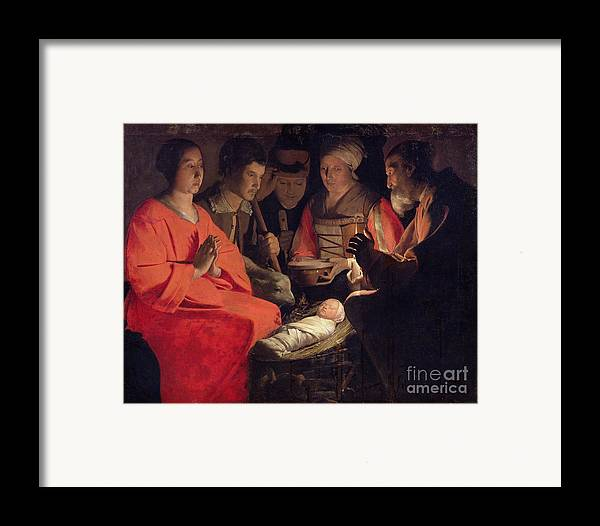 Adoration Framed Print featuring the painting Adoration Of The Shepherds by Georges de la Tour