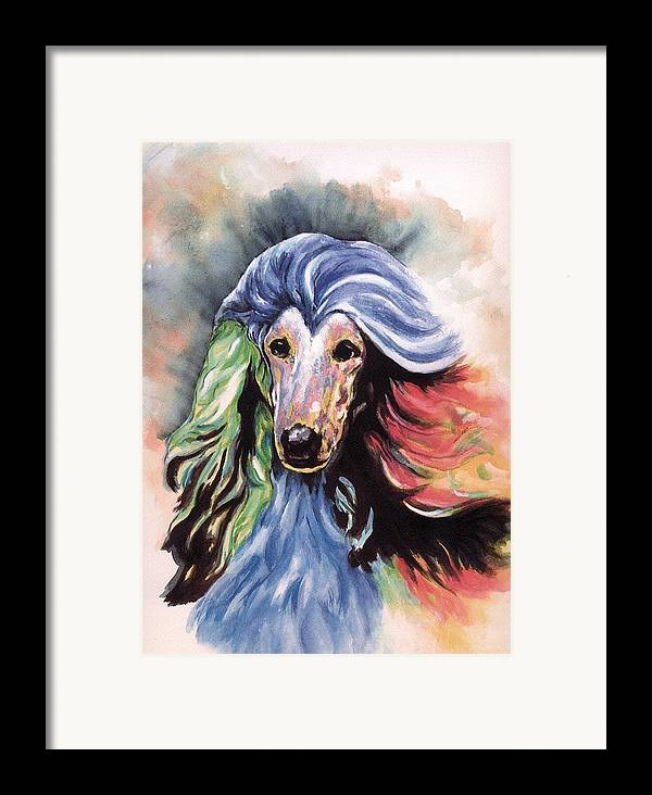 Afghan Hound Framed Print featuring the painting Afghan Storm by Kathleen Sepulveda