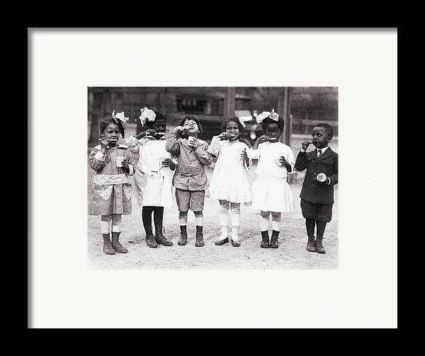 History Framed Print featuring the photograph African American First Graders Learn by Everett