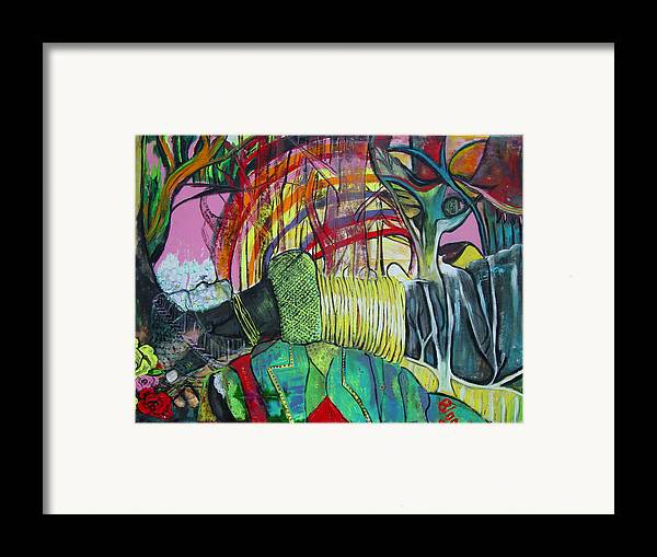 African Lady With Baby Framed Print featuring the painting African Roots by Peggy Blood