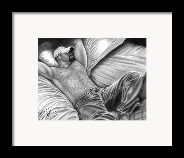 Men Framed Print featuring the drawing Afternoon Nap by Brent Marr
