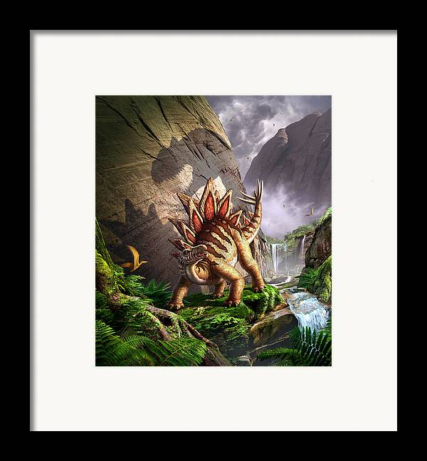 Stegosaurus Framed Print featuring the digital art Against The Wall by Jerry LoFaro