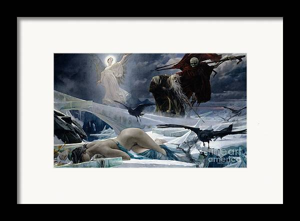Ahasuerus Framed Print featuring the painting Ahasuerus At The End Of The World by Adolph Hiremy Hirschl