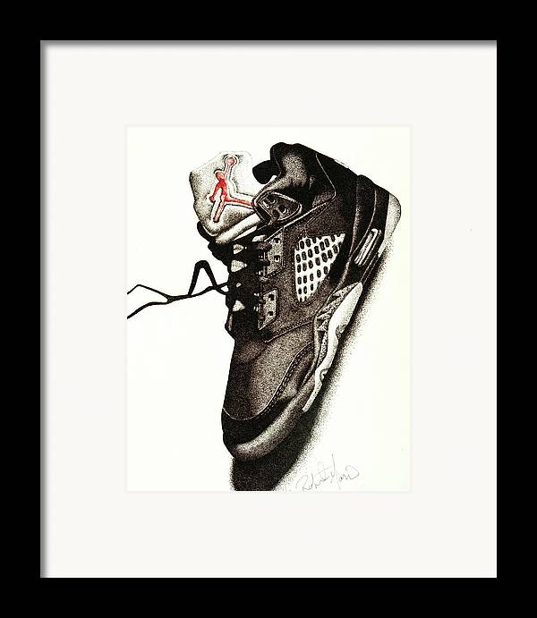 Shoes Framed Print featuring the drawing Air Jordan by Robert Morin