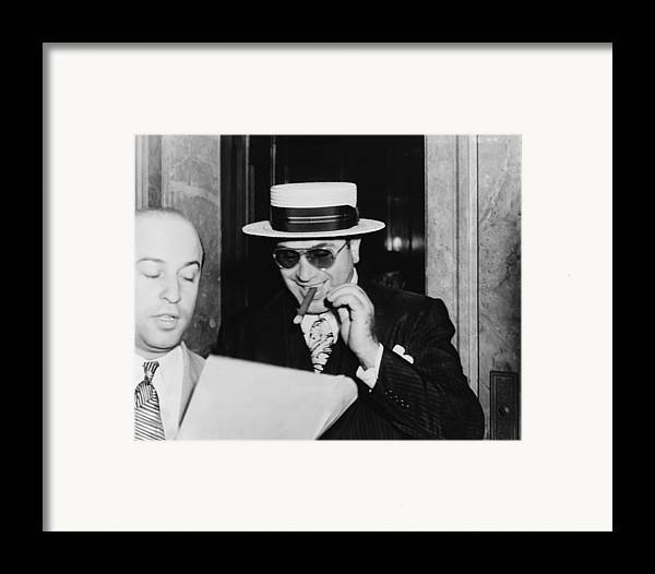 History Framed Print featuring the photograph Al Capone, With A Cigar And A Big by Everett