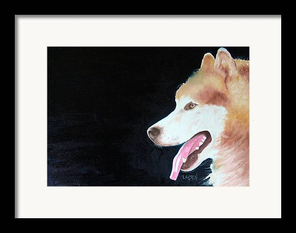 Framed Print featuring the painting Alaskan Malamute by Dick Larsen