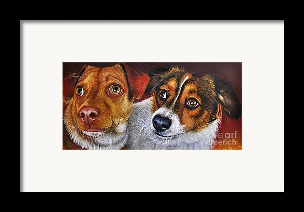 Puppies Framed Print featuring the painting Ali And Ilu by Jurek Zamoyski