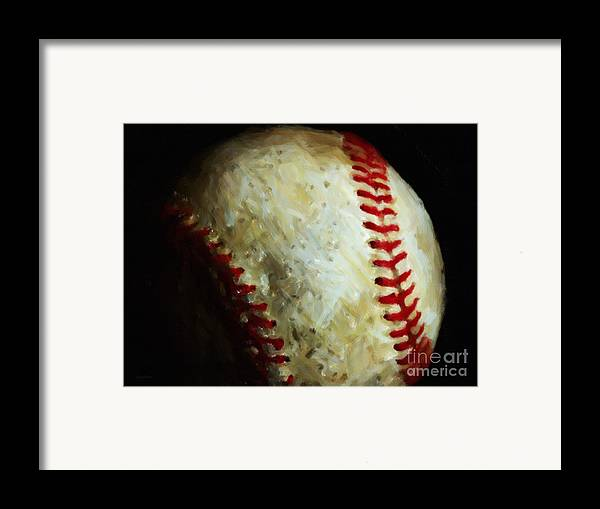 Baseball Framed Print featuring the photograph All American Pastime - Baseball - Painterly by Wingsdomain Art and Photography