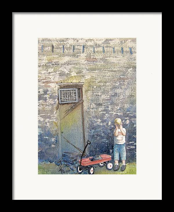 Child Framed Print featuring the painting Alone by Gale Cochran-Smith