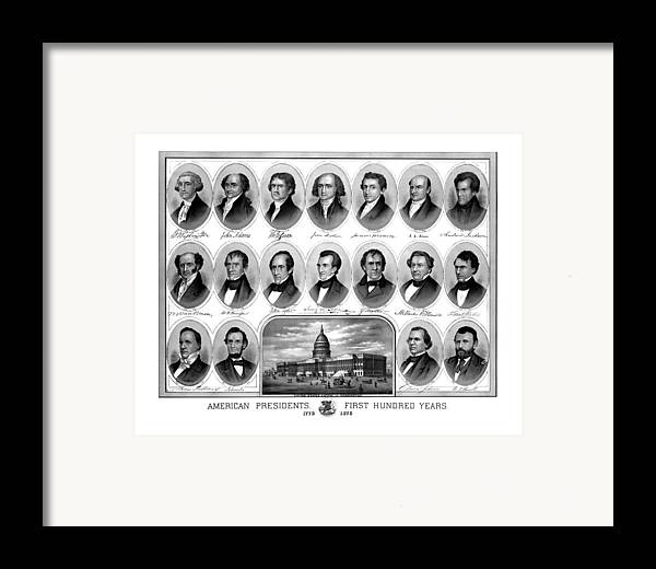 Us Presidents Framed Print featuring the drawing American Presidents First Hundred Years by War Is Hell Store