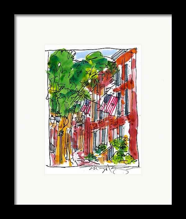 Landscape Framed Print featuring the painting American Street Philadelphia by Marilyn MacGregor
