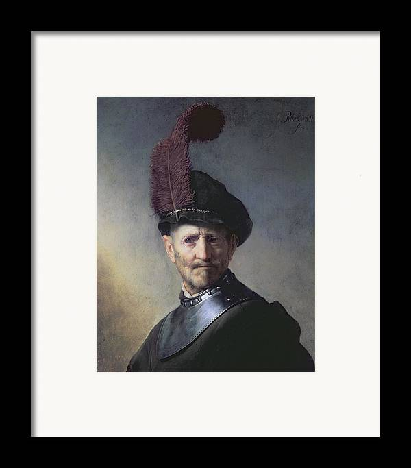Old Framed Print featuring the painting An Old Man In Military Costume by Rembrandt