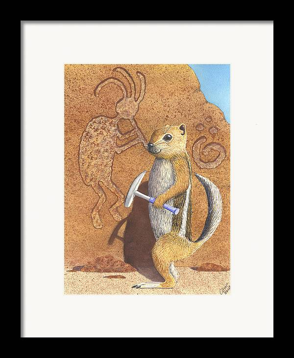 Kokopeli Framed Print featuring the painting And You Thought It Was The Anasazi by Catherine G McElroy