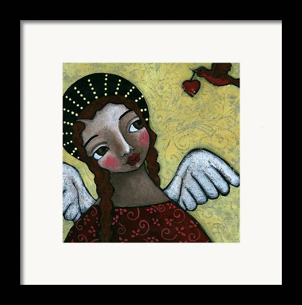 Angel Framed Print featuring the painting Angel With Bird Of Peace by Julie-ann Bowden