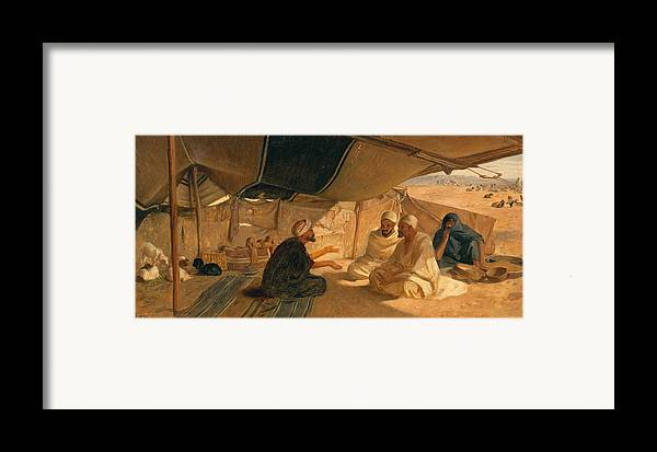 Arabs Framed Print featuring the painting Arabs In The Desert by Frederick Goodall