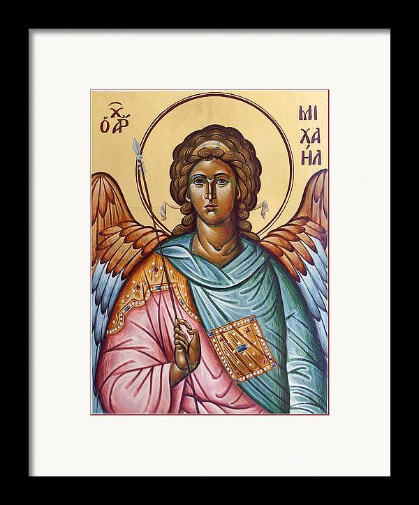 Icon Framed Print featuring the painting Archangel Michael by Julia Bridget Hayes