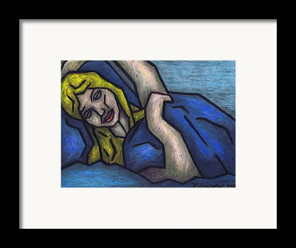 Asleep Framed Print featuring the painting Asleep by Kamil Swiatek