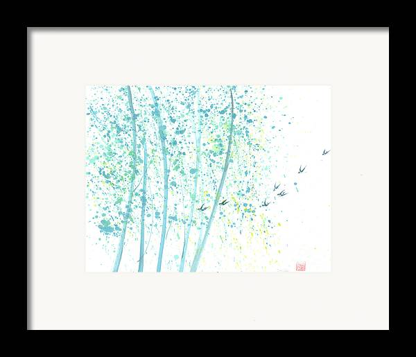 Birds Flying Through An Aspen Forest. This Is A Contemporary Chinese Ink And Color On Rice Paper Painting With Simple Zen Style Brush Strokes. Framed Print featuring the painting Aspen Forest by Mui-Joo Wee