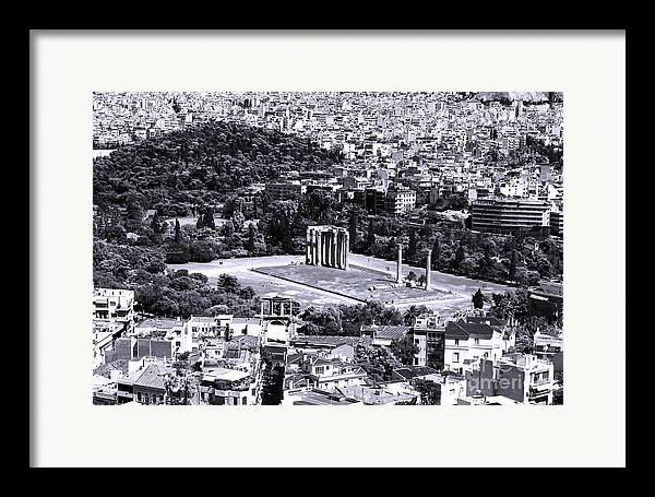 Athens Cityscape Iv Framed Print featuring the photograph Athens Cityscape Iv by John Rizzuto