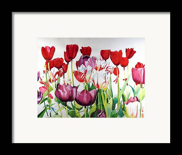Tulips Framed Print featuring the painting Attention by Elizabeth Carr