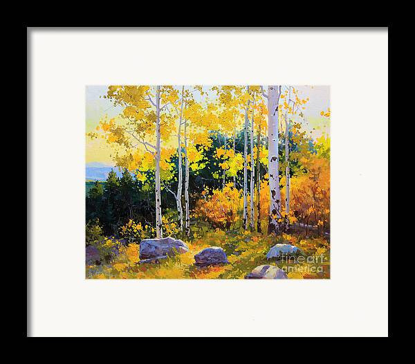 Nature Framed Print featuring the painting Autumn Beauty Of Sangre De Cristo Mountain by Gary Kim