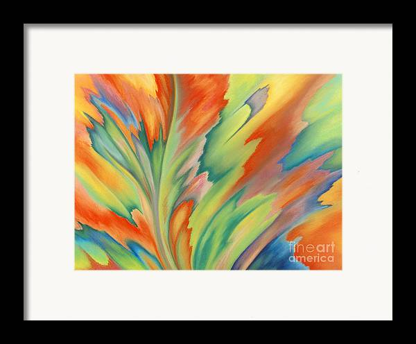 Abstract Framed Print featuring the painting Autumn Flame by Lucy Arnold