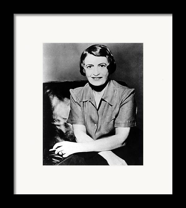1950s Framed Print featuring the photograph Ayn Rand, 1957 Author Of Atlas Shrugged by Everett