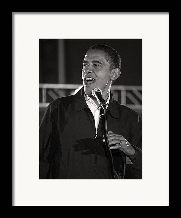 Obama Framed Print featuring the photograph Barack Obama In Cleveland by Brian M Lumley