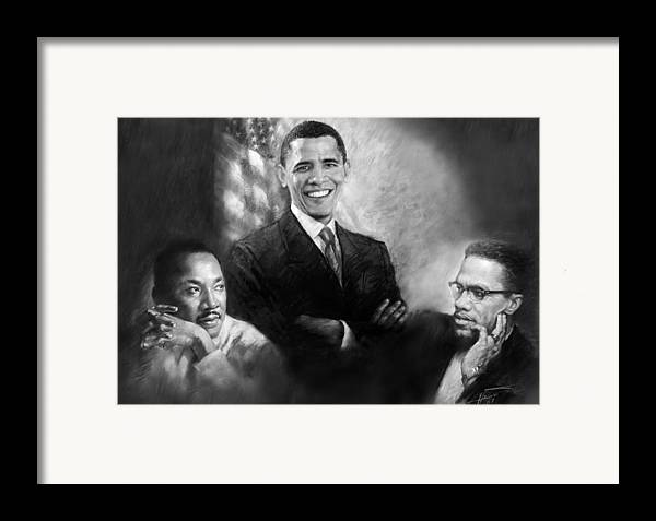 Barack Obama Framed Print featuring the pastel Barack Obama Martin Luther King Jr And Malcolm X by Ylli Haruni