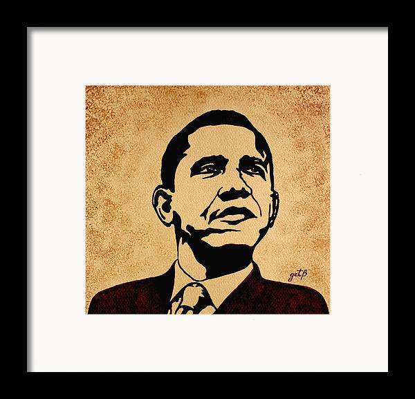 Barack Obama Coffee Painting Pop Art Framed Print featuring the painting Barack Obama Original Coffee Painting by Georgeta Blanaru