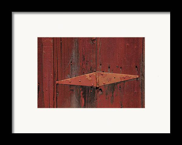 Red Door Henge Framed Print featuring the photograph Barn Hinge by Garry Gay